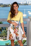 Yellow and Ivory Floral Short Dress New Arrivals, Dresses, Short Dresses, Casual Dresses Hello Miz/ CMD1419Z - Yellow/Ivory $13.75