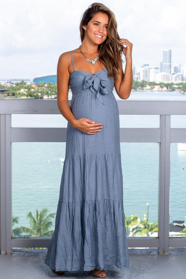 Light Blue Maxi Dress with Tie Front
