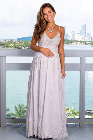 Silver Crochet Top Maxi Dress with Frayed Hem