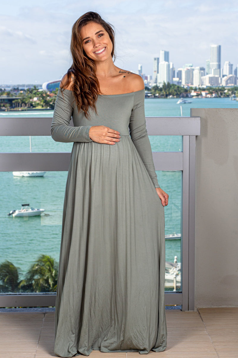 Green Off Shoulder Maxi Dress