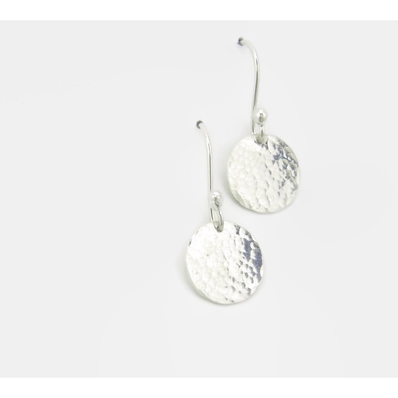 Hammered Dangle Disc Earrings