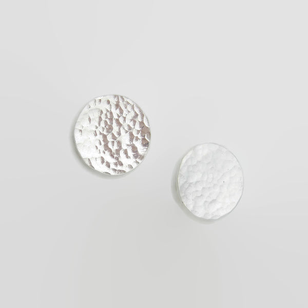 Sterling Silver Hammered Disc Studs