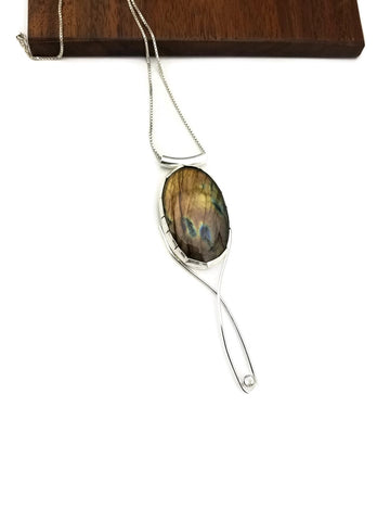 Long Labradorite and white topaz pendant