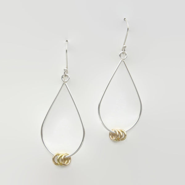 Two Tone Tear Drop Kinetic Dangles-Small
