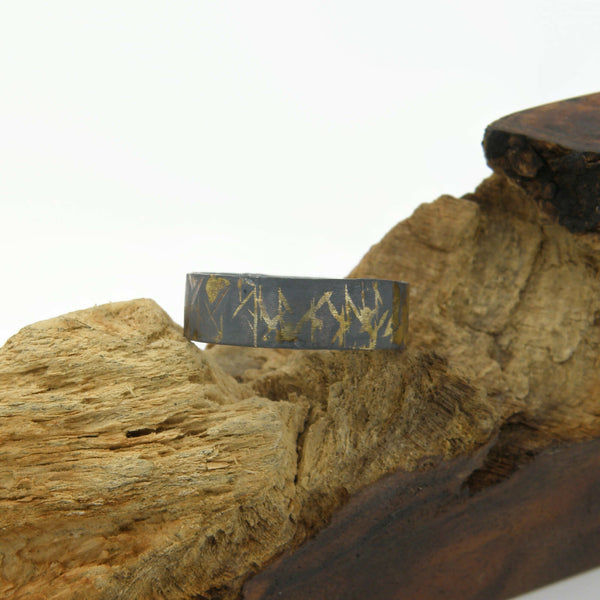 Gold Inlay Scars Comfort Fit Ring