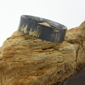 Gold Inlay Bumpy Road Comfort Fit Ring