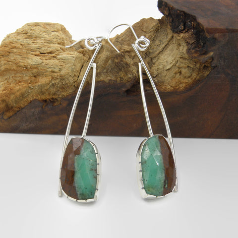 Chrysoprase Statement Earrings-Oval