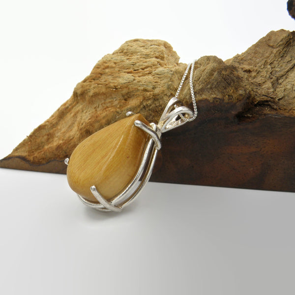 Yellow Heart Wood Necklace