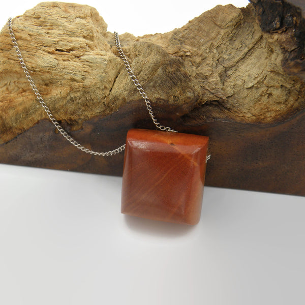 Pink Ivory Wood Square Necklace