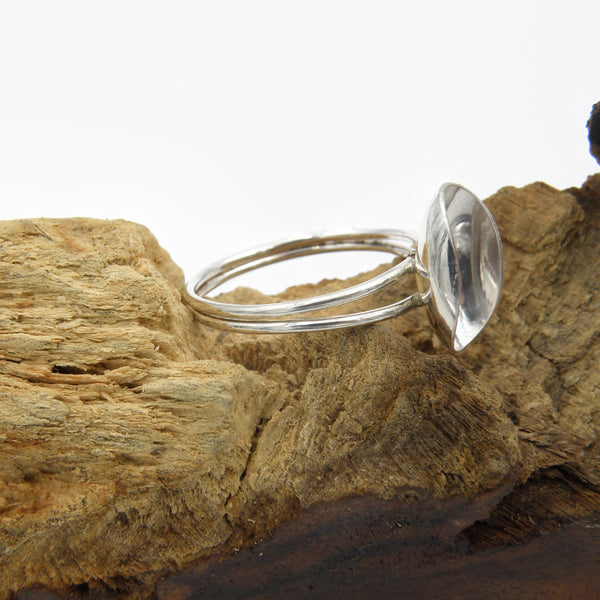Sterling Silver Ring- Double Band Scoop Ring