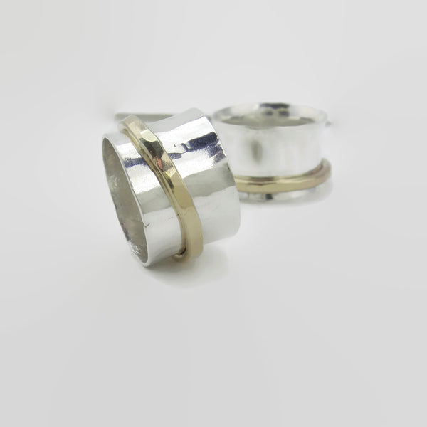 Two Tone Silver Gold Spinner Meditation Ring