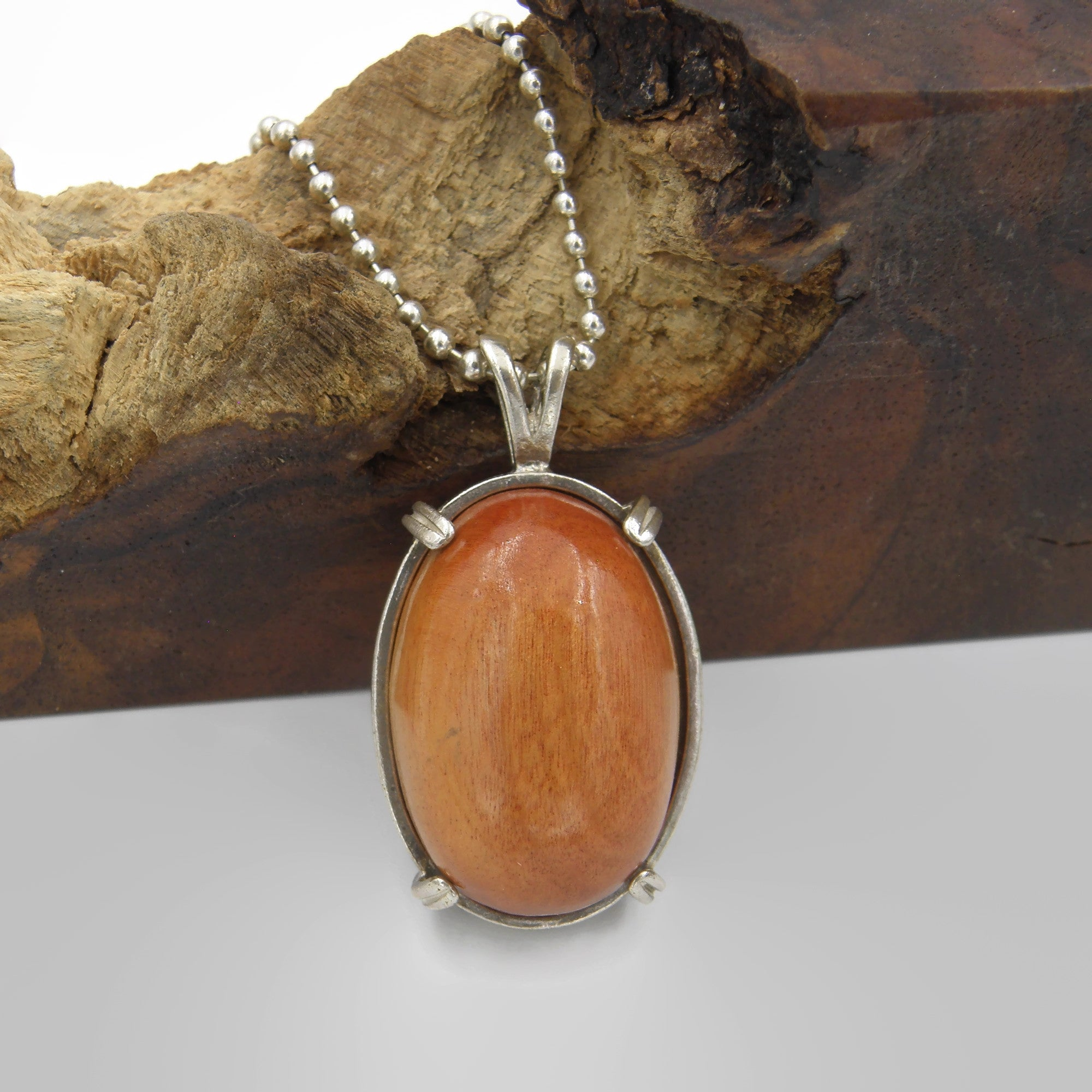 Pink Ivory Oval Wood Necklace