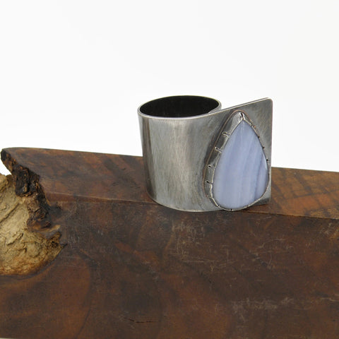 Blue Lace Agate Fold Over Ring