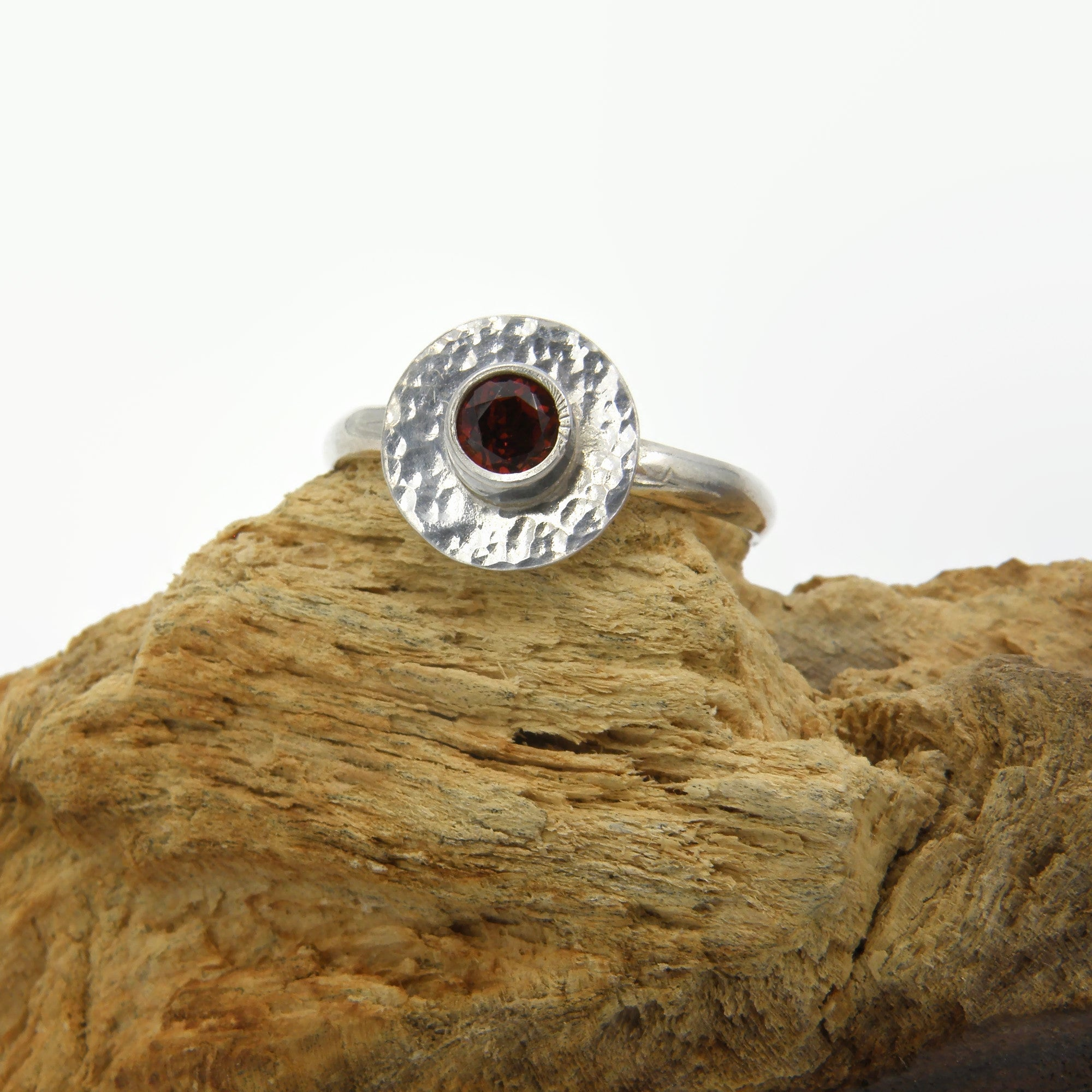 Silver and Garnet Fire Ring