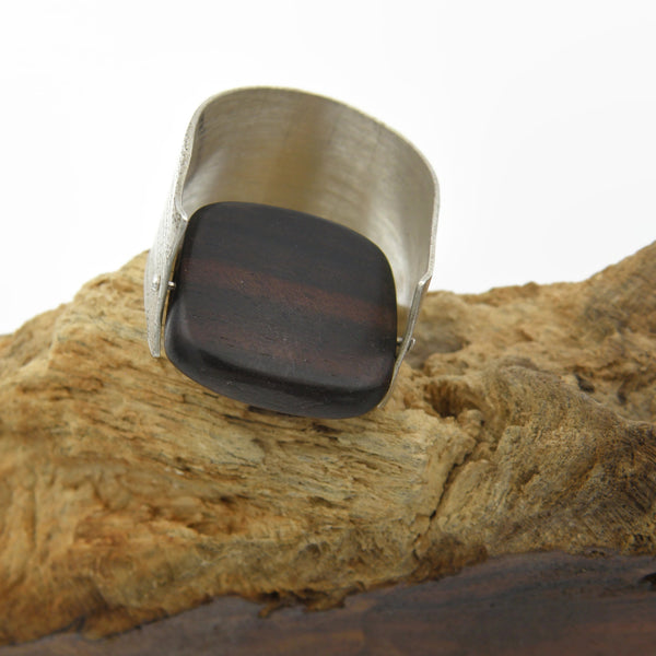 Wood and Sterling Ring