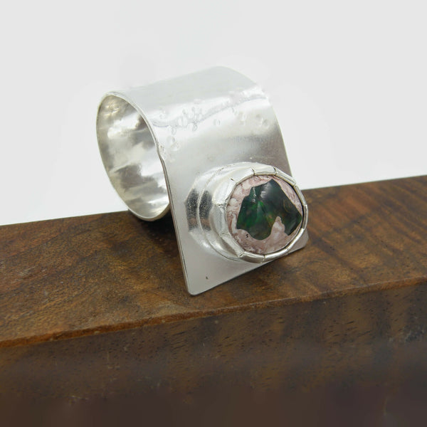 Cantera Opal Fold Over Ring Green