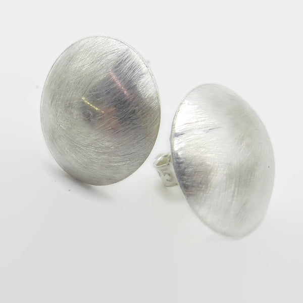 Brushed Silver Dome Disc Studs