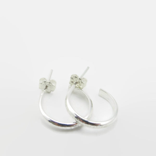 Small Grooved Silver Hoop Studs