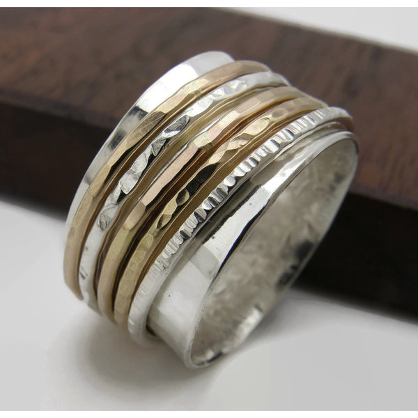 Pro and Con - Gold and Silver Spinner Ring