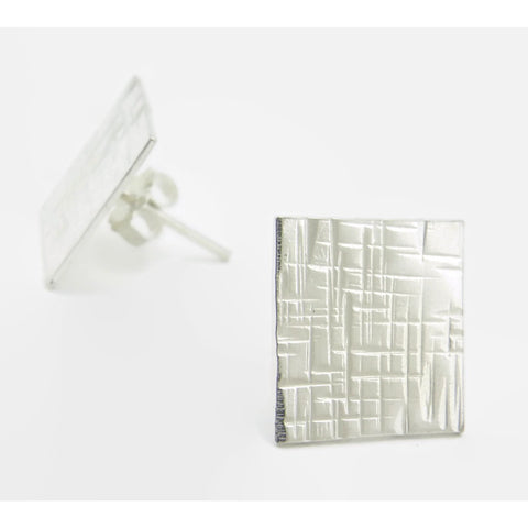 Silver Square Earrings- Linen Square