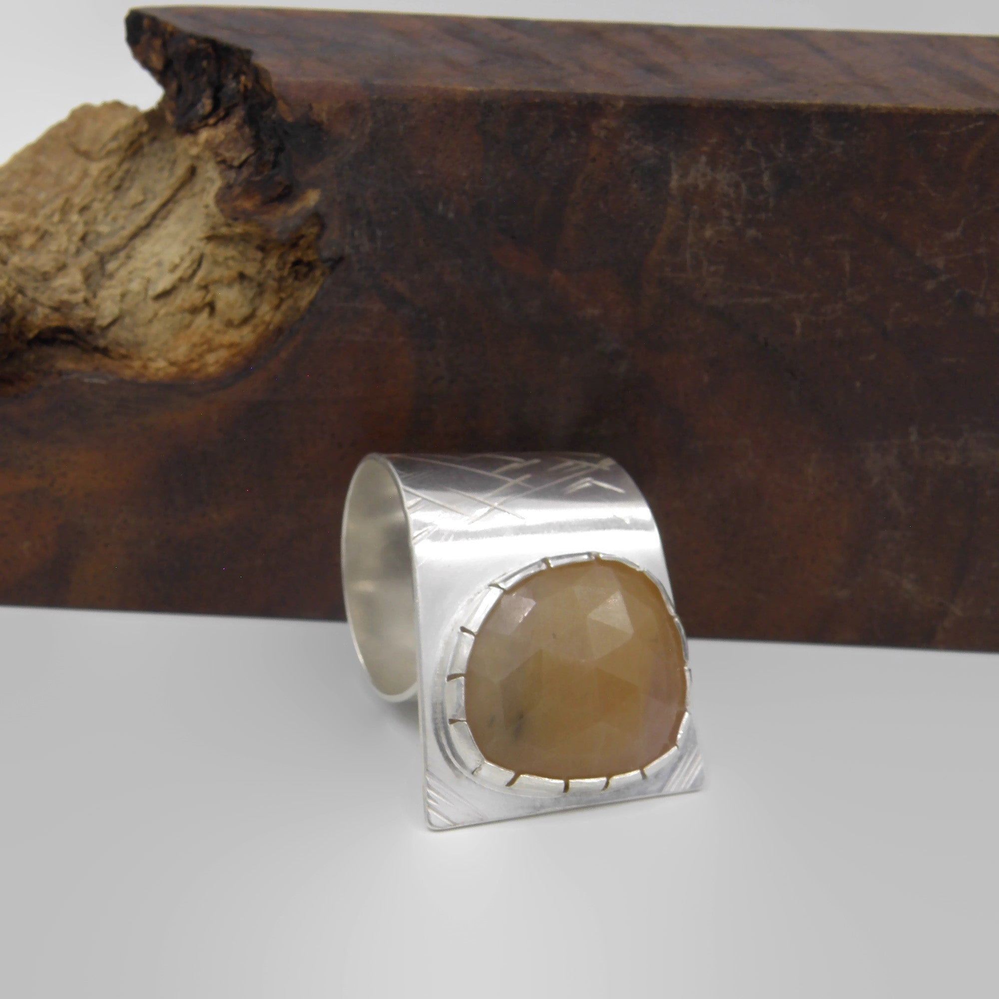 Corundum Fold Over Ring-Rust Orange
