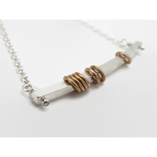 Silver Bar with Gold Rings Necklace