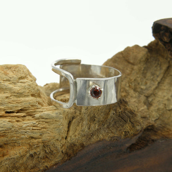 Half and Half with Garnet Ring