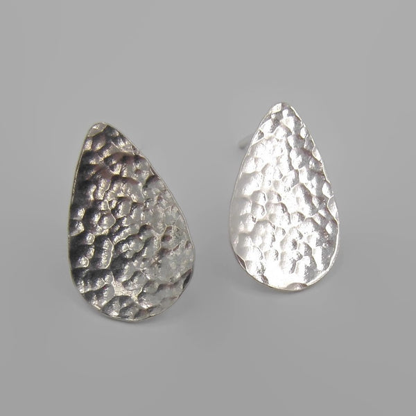 Tear Drop Hammered Stud Earring