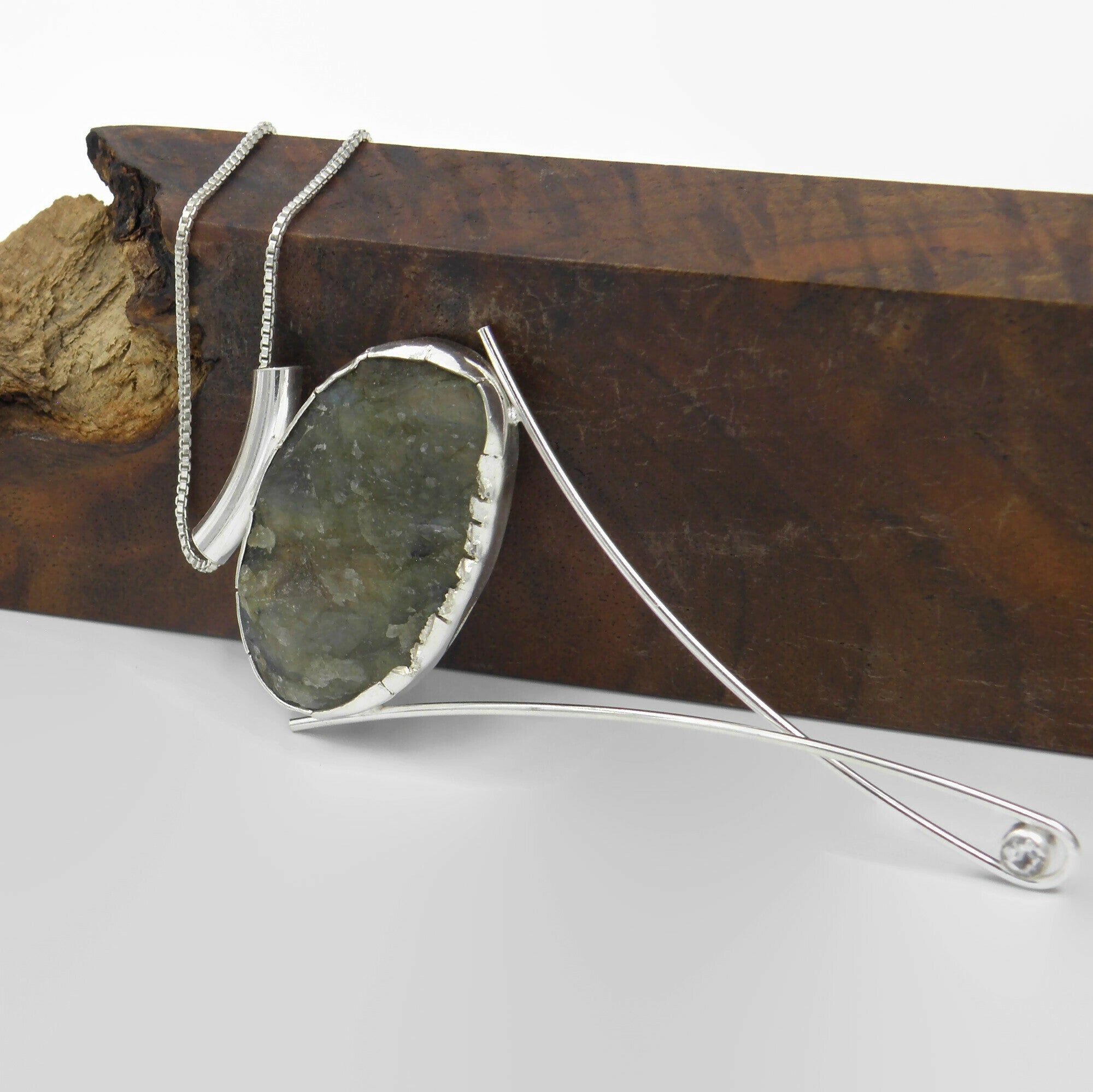 Labradorite Long Elegant Statement Necklace-Rough Cut