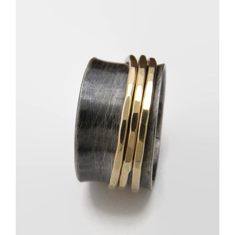 Black and Gold Fill Spinner Ring