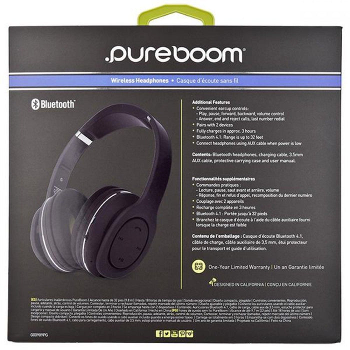 PureGear PureBoom Wireless Headphones - 18 Hours Use time - Android+iOS - Black - Raza Shop