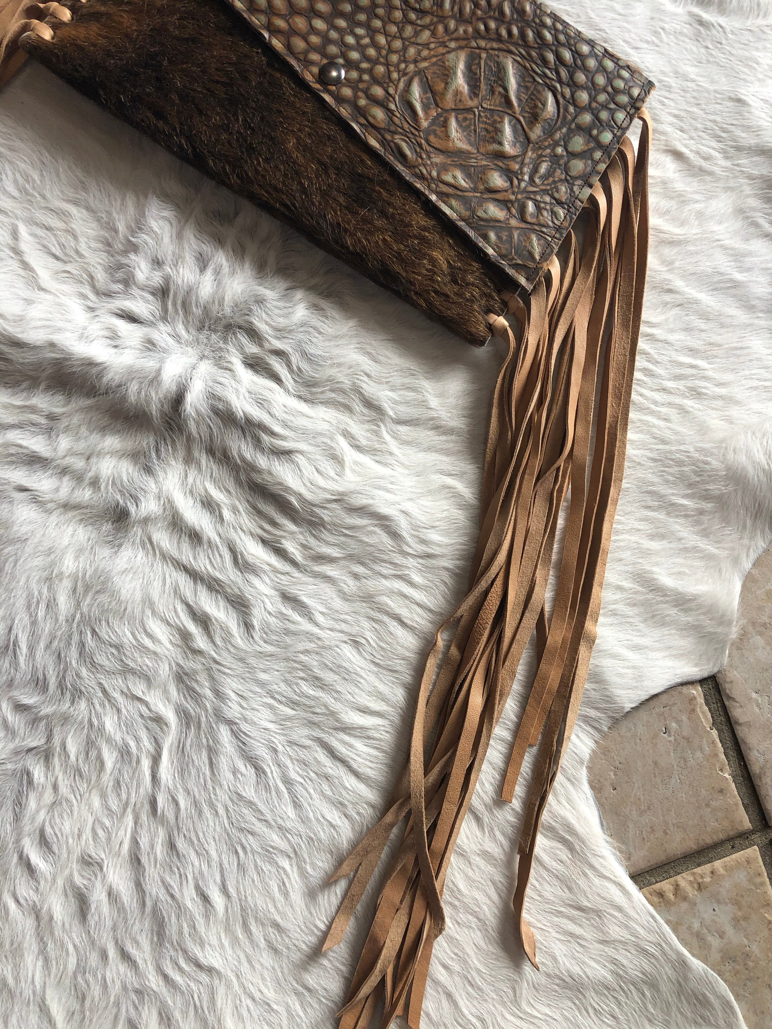 Fringe Cow Hide Clutch