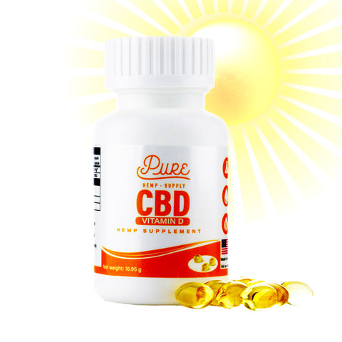 Pure Hemp Supply | CBD + Vitamin D Softgel Hemp Supplements - 25mg ea. - 30 count