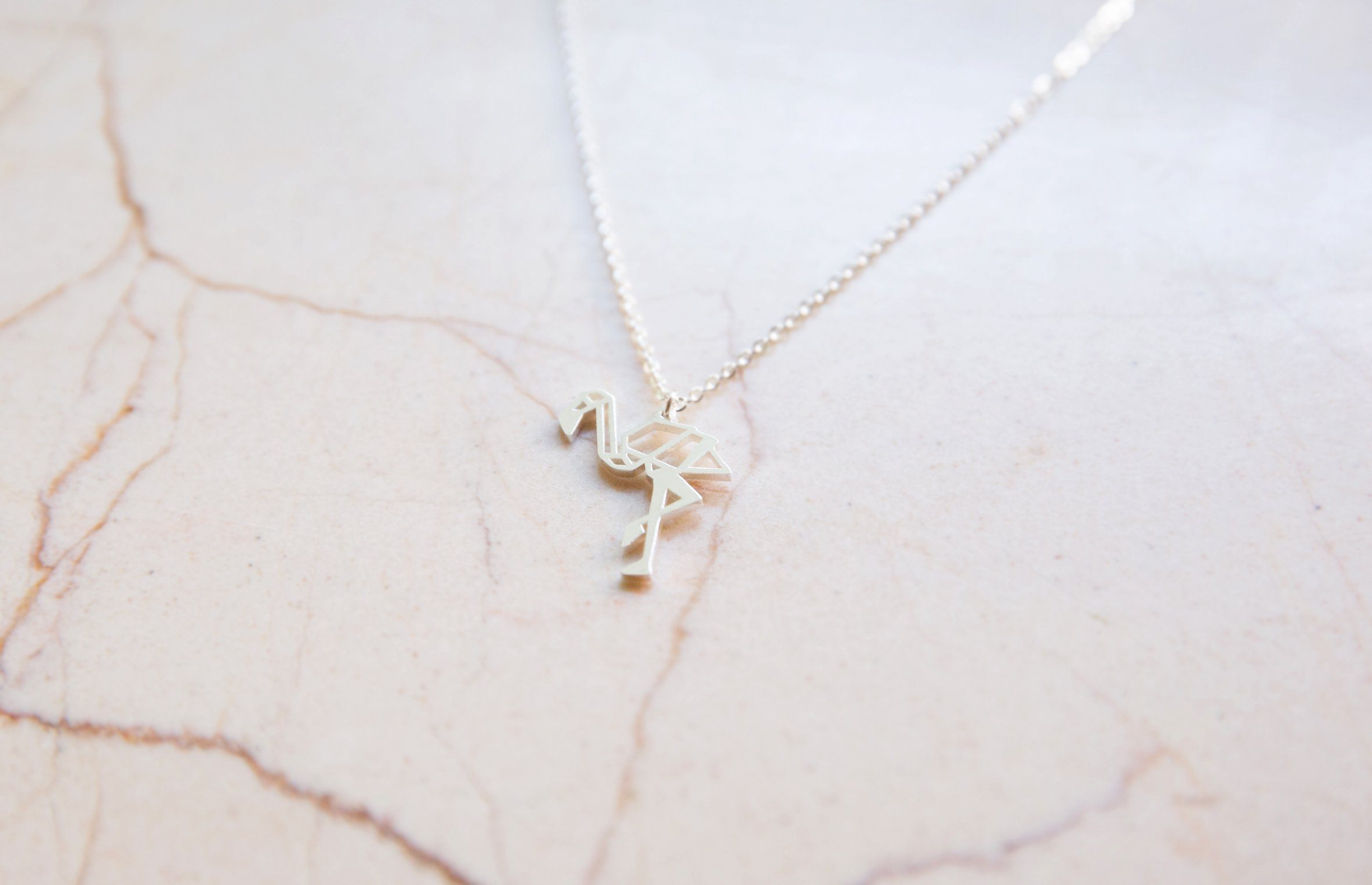 Flamingo Silver Origami Geometric Necklace