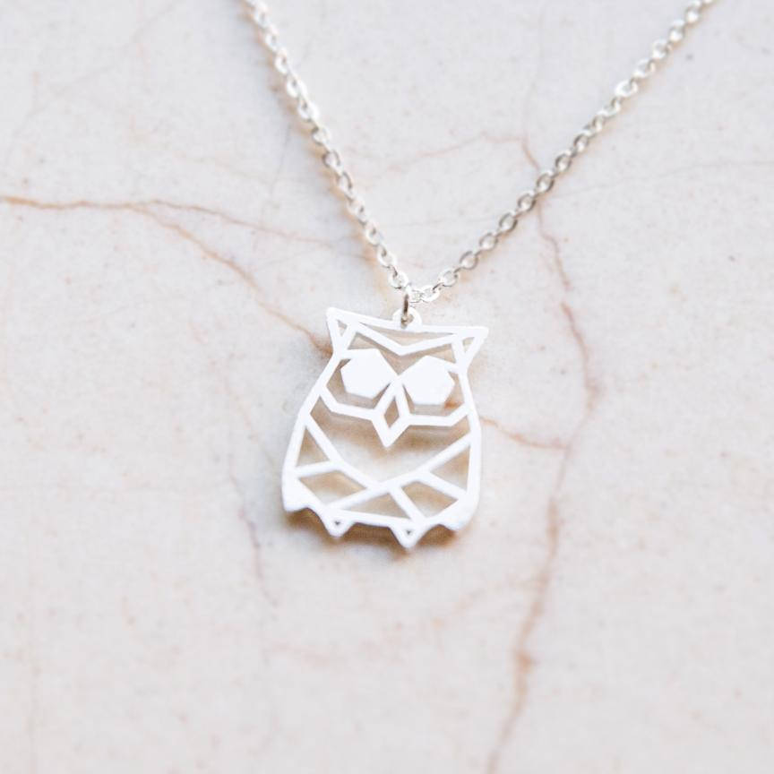 Owl Silver Origami Geometric Necklace