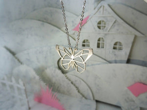Butterfly Silver Origami Animal Necklace
