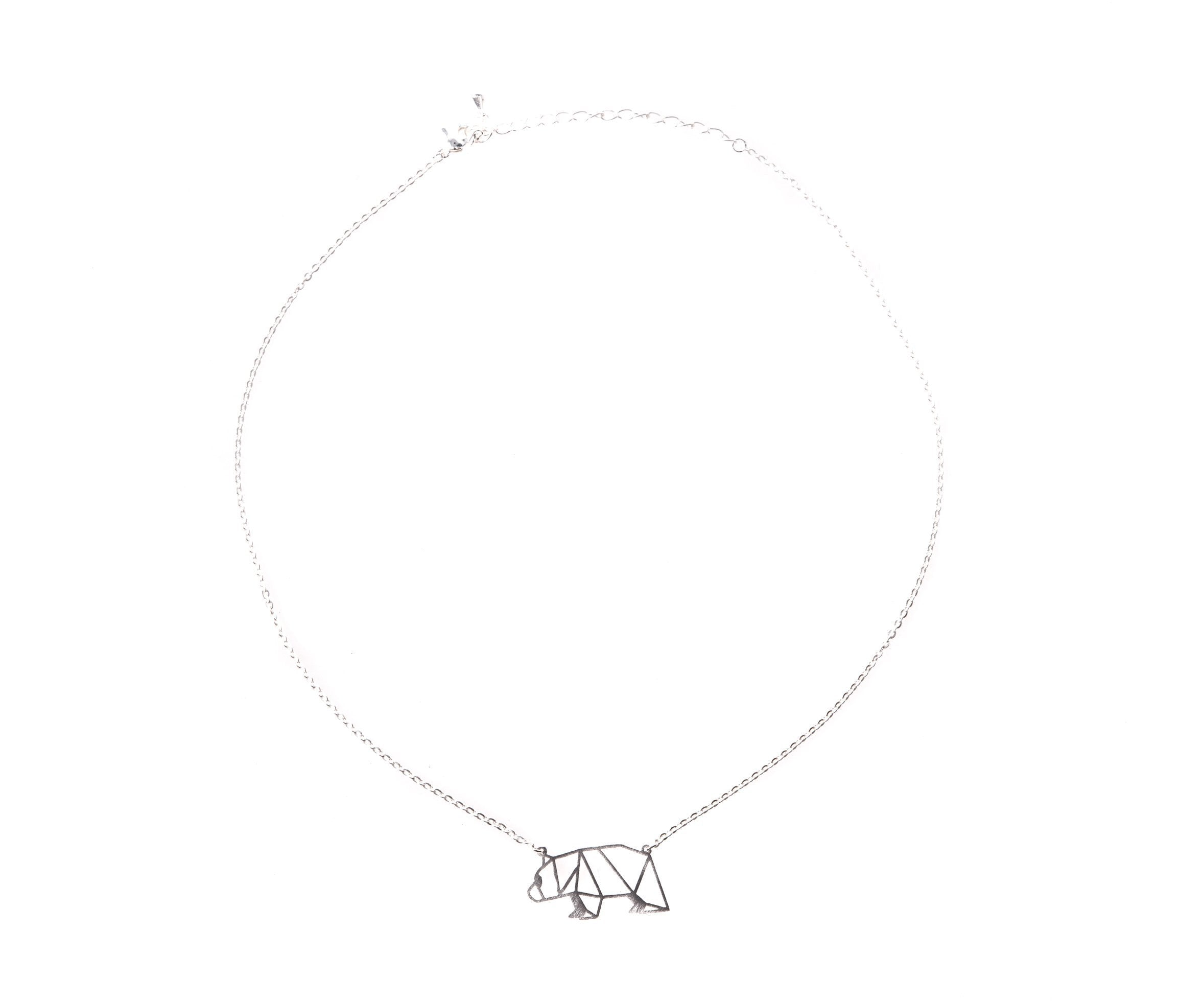 Bear Silver Origami Necklace