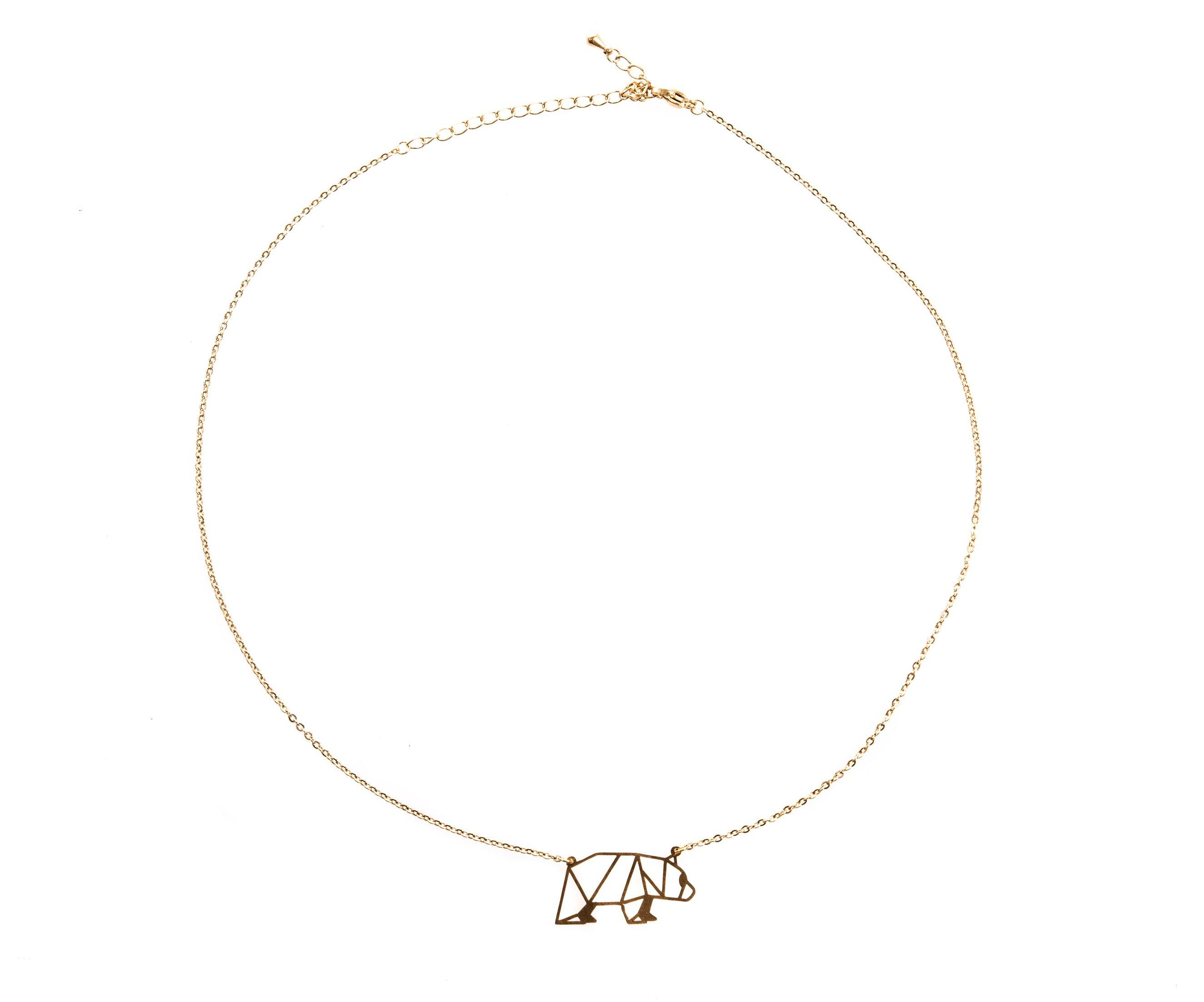 Bear Gold Origami Necklace