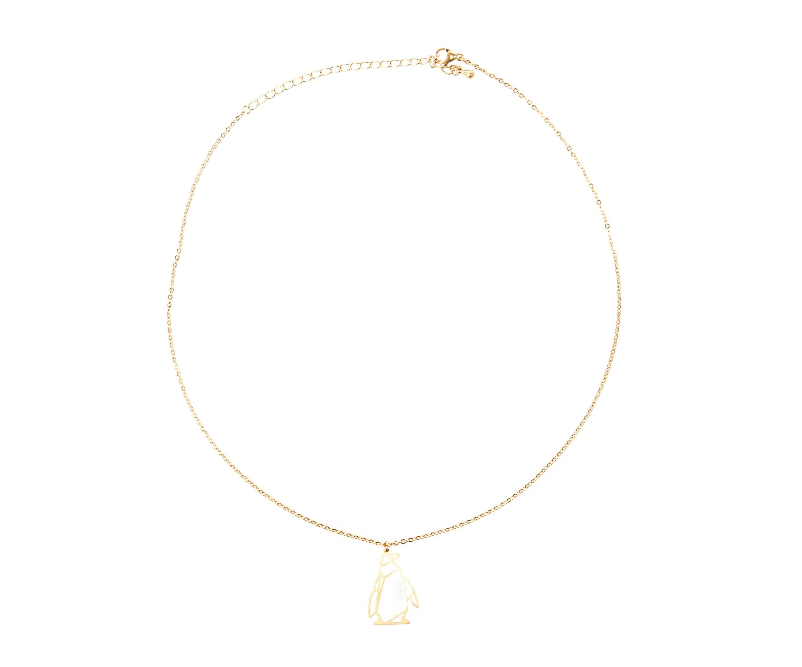 Penguin Gold Origami Necklace