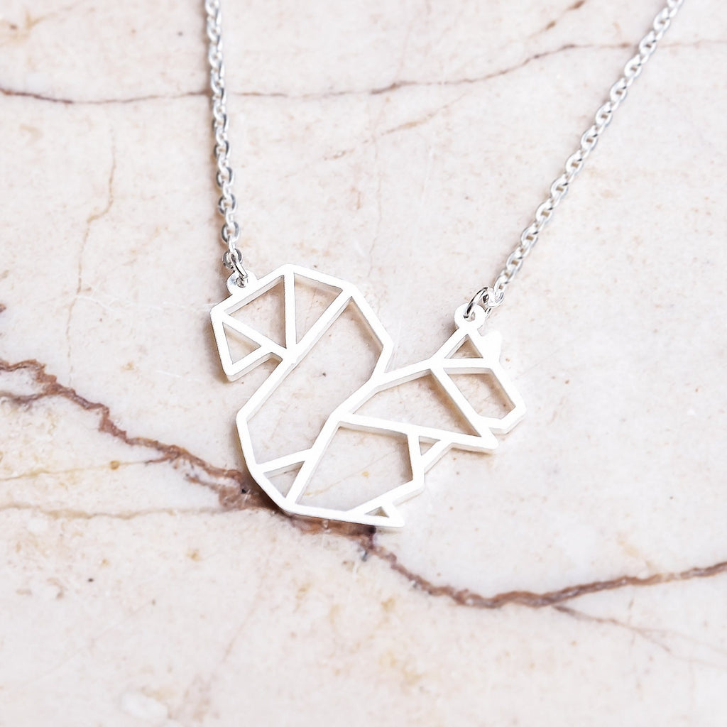 Squirrel Silver Origami Geometric Necklace