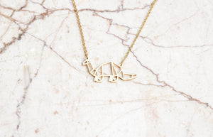 Dinosaur Gold Origami Geometric Necklace