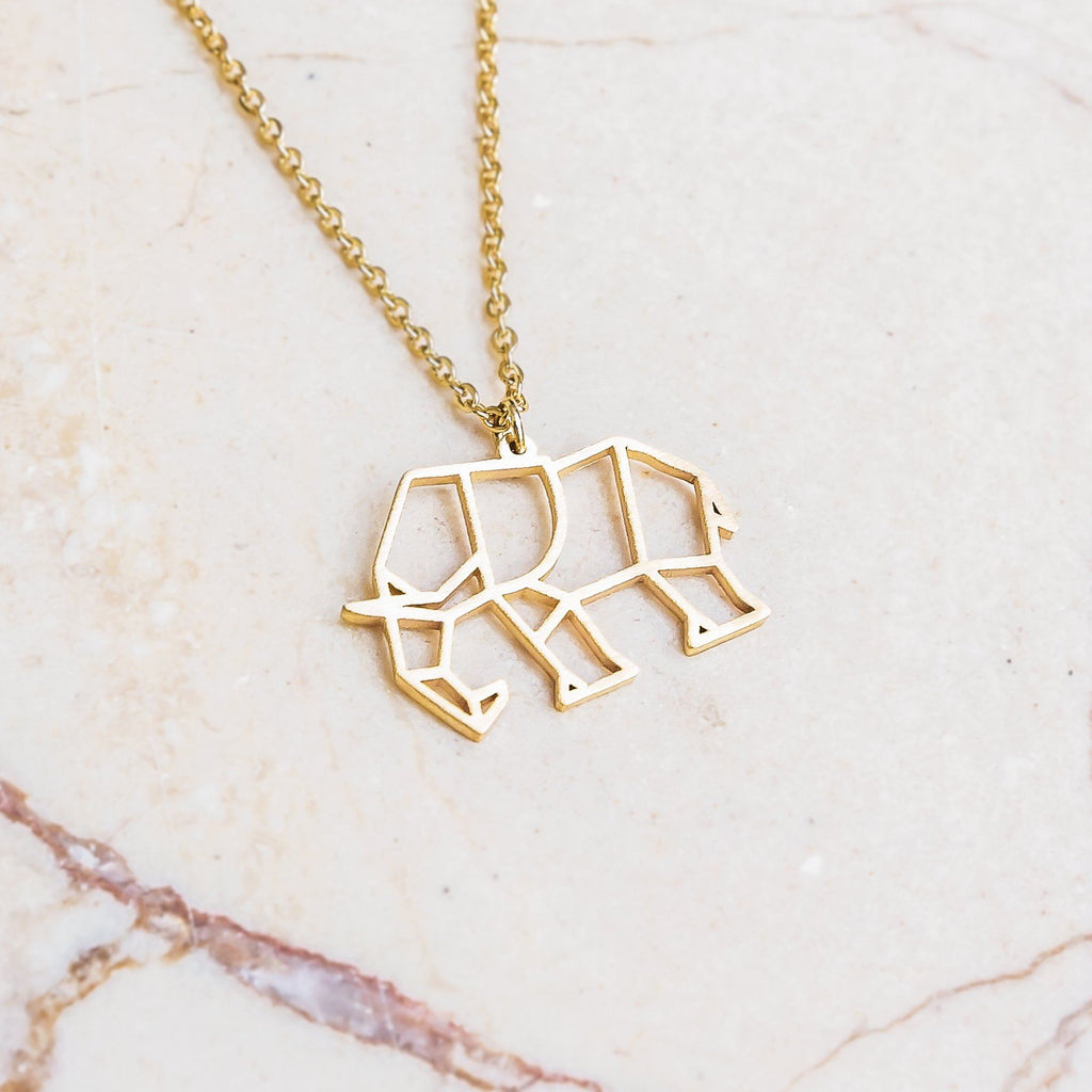Elephant Gold Origami Geometric Necklace