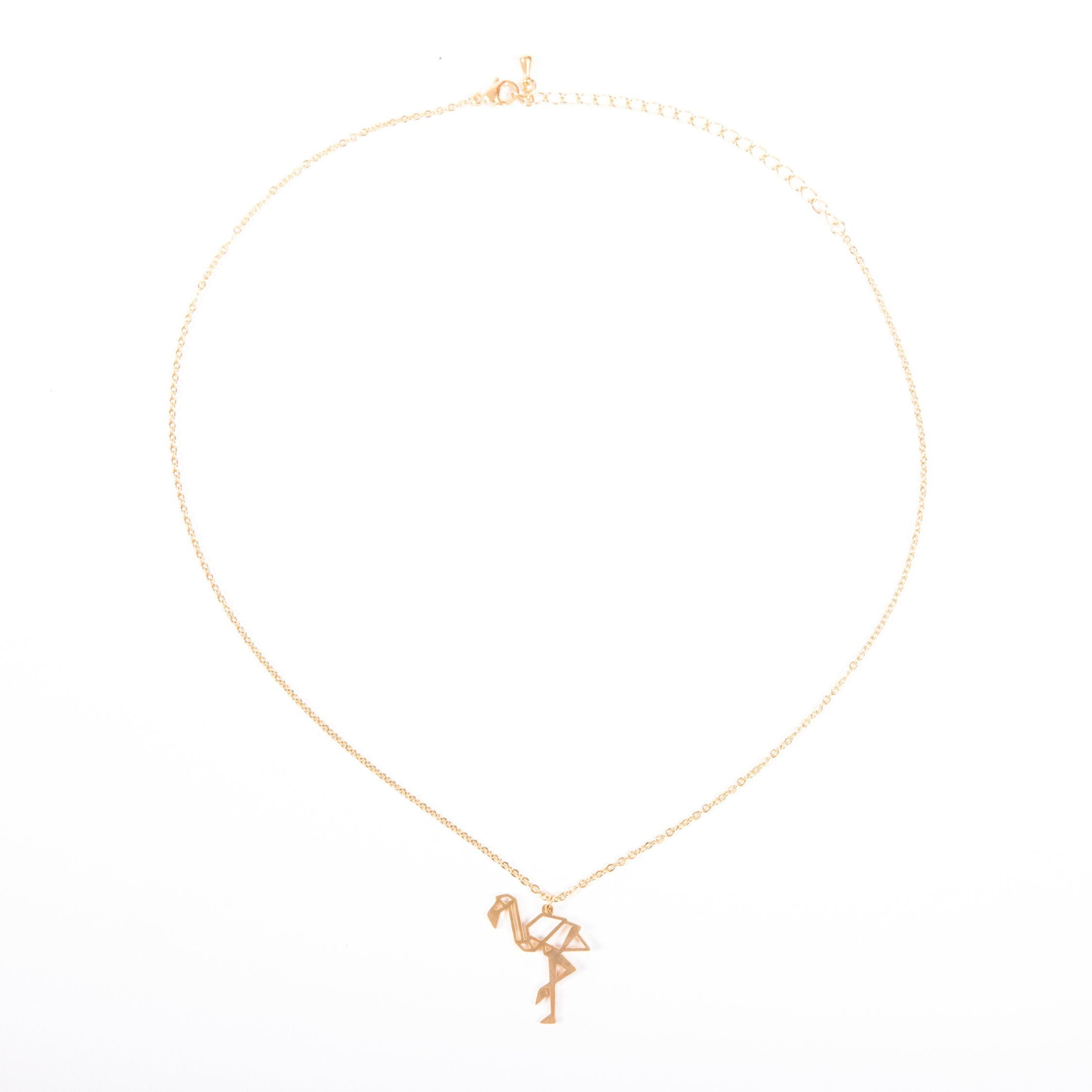 Flamingo Gold Origami Necklace