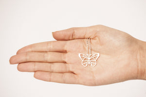 Butterfly Silver Origami Geometric Necklace