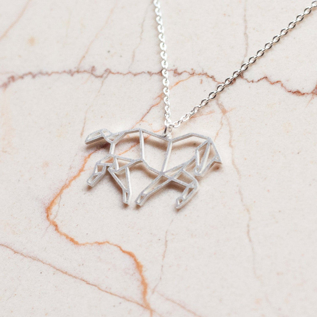 Horse Silver Origami Geometric Necklace