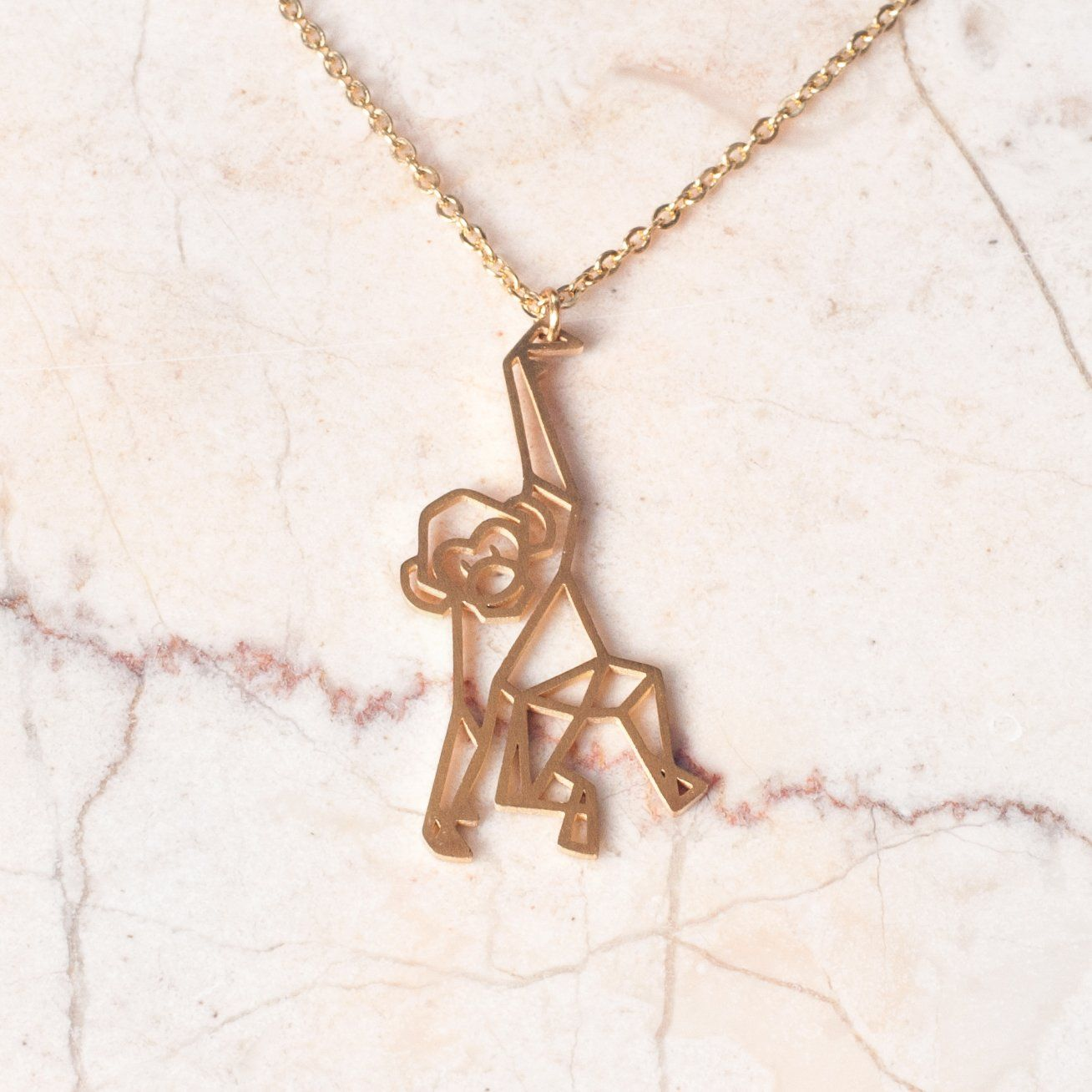 Monkey Gold Origami Geometric Necklace