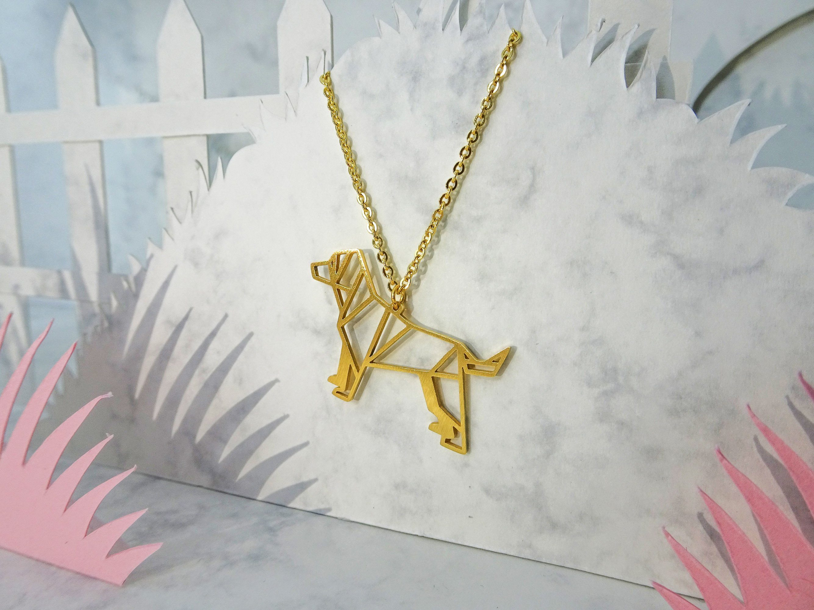 Dog Gold Origami Animal Necklace