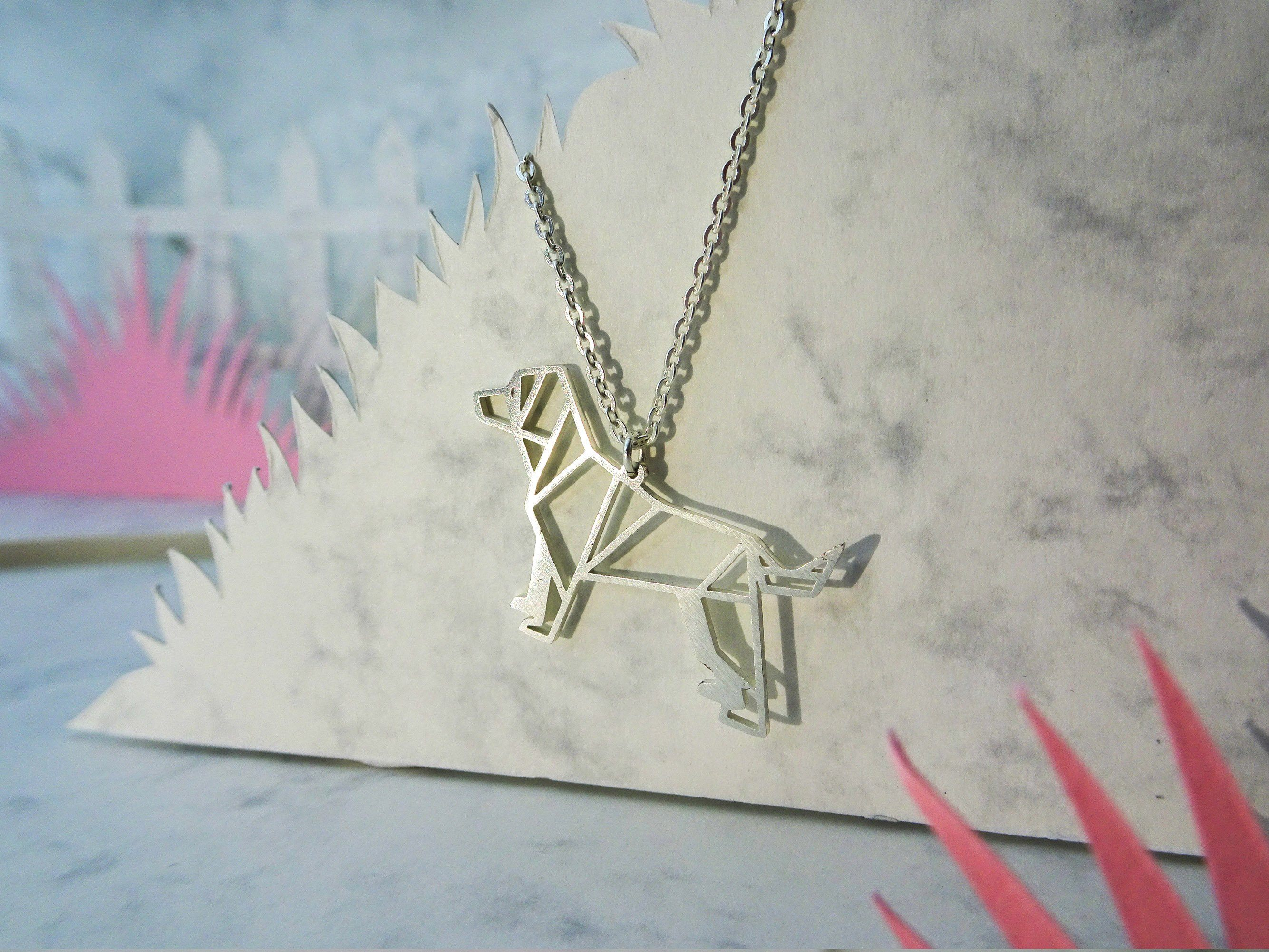 Dog Silver Origami Animal Necklace