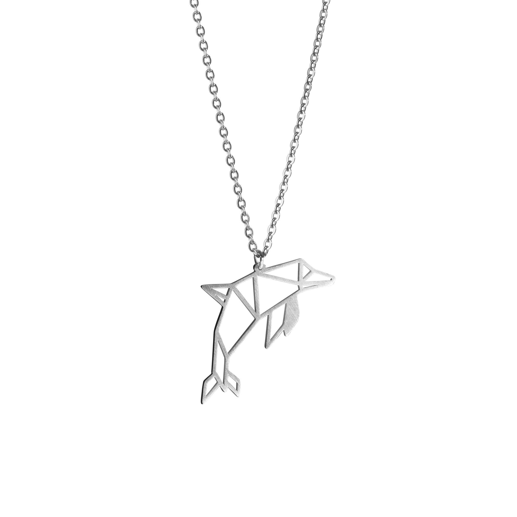 Dolphin Silver Origami Geometric Necklace