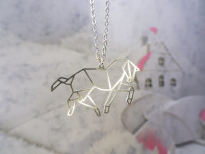 Horse Silver Origami Animal Necklace